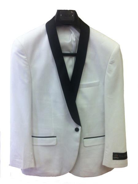 Men's One Button Slim Fit Tuxedo Jacket White with Black Lapel | MensITALY  Price: US $125