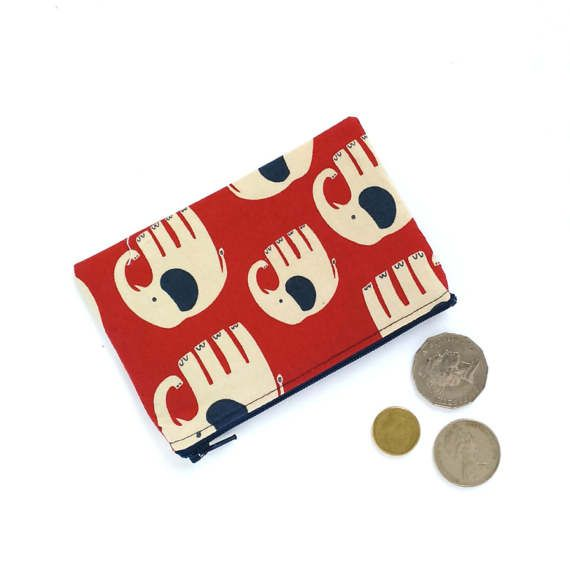 Kawaii Elephant Coin Purse Ear Buds Case Red Navy by OneBusySloth