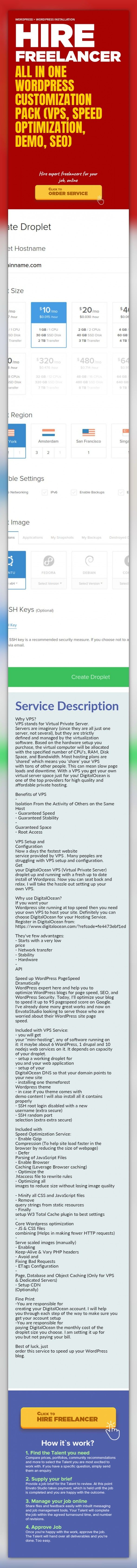 All in One WordPress Customization Pack (VPS, Speed Optimization, Demo, SEO) WordPress, WordPress Installation   Why VPS?  VPS stands for Virtual Private Server. Servers are imaginary (since they are all just one server, not several), but they are strictly defined and managed by the virtualization software. Based on the hardware setup you purchase, the virtual computer will be allocated with the s...