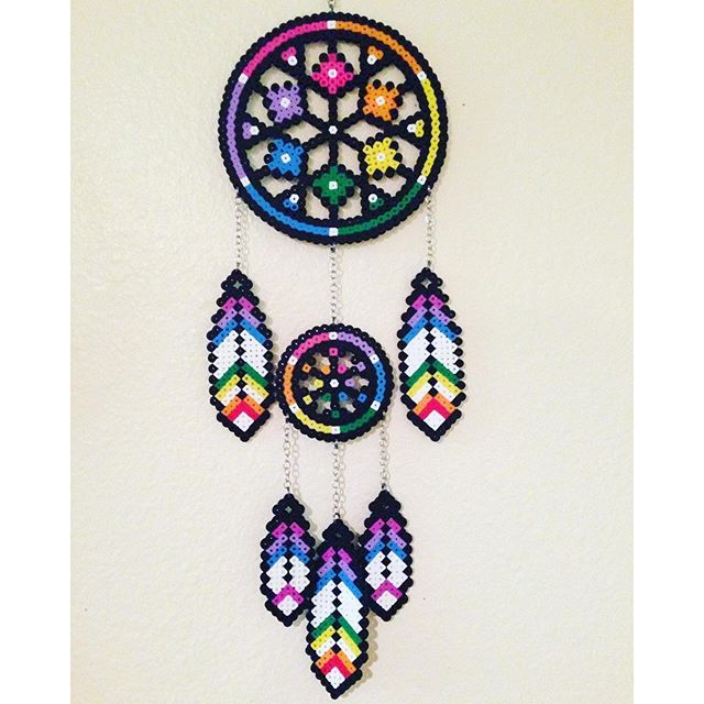 Dreamcatcher perler beads by  perlernerdcrafts