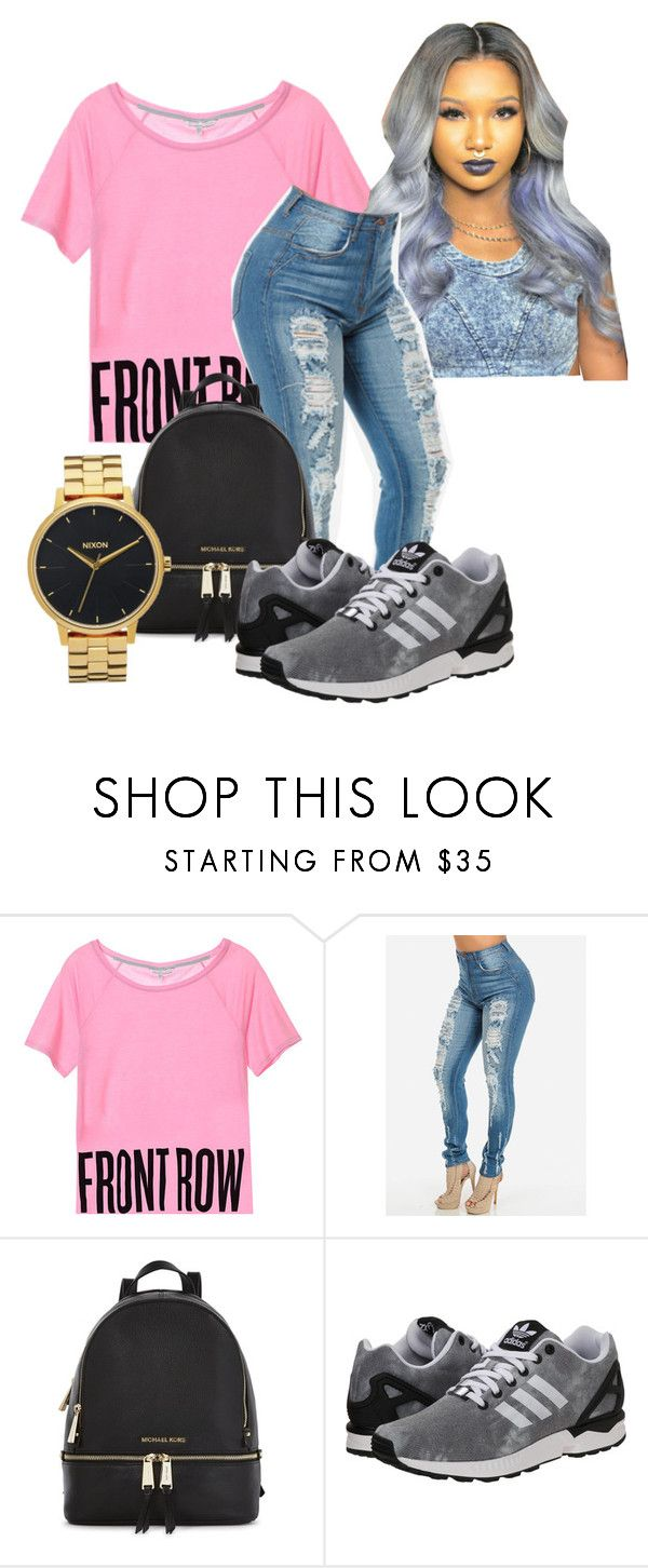 """""""Travis Scott concert """"Its Lit"""""""" by kittycupkake001 ❤ liked on Polyvore featuring Michael Kors, adidas Originals and Nixon"""