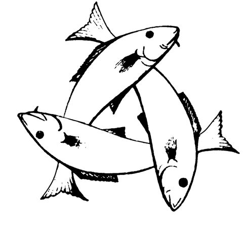 A Trinitarian Christian symbol of three intertwined fish