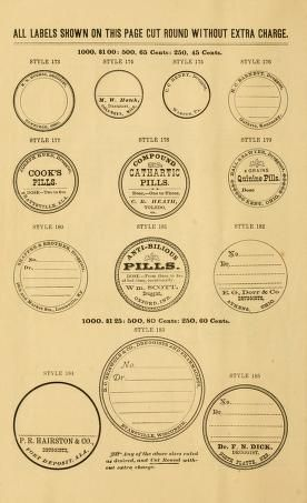 Free Printables: Antique Round Druggist/Pharmacy/Apothecary/Medicine Labels
