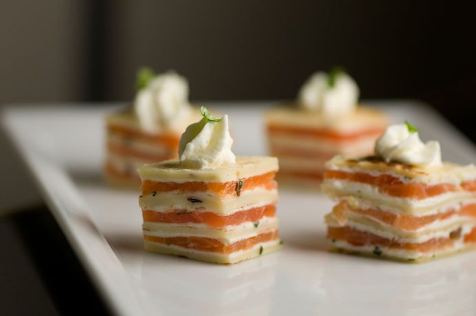 Amuse Bouche of Smoked Salmon Napolean - no recipe, pic for inspiration only *Update Note - here's a recipe, it's easier than it looks: http://how2heroes.com/videos/appetizers/smoked-salmon-crepinette