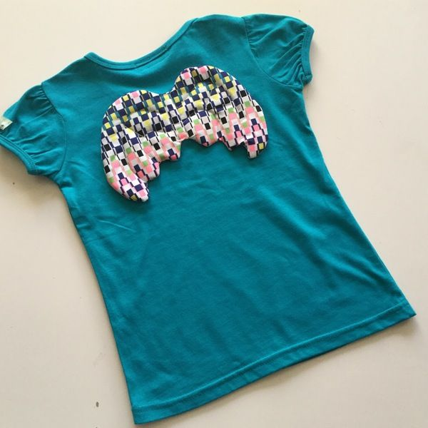 Image of Angel Wing Tee - Teal with Aztec Grid