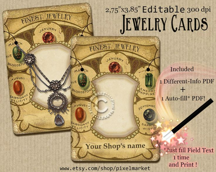 Premade EDITABLE JEWELRY LABELS 2,75x3,85 Printable Necklace display Cards Instant Download Distressed Gift tags Brooch Holder Printables 02 de la boutique pixelmarket sur Etsy