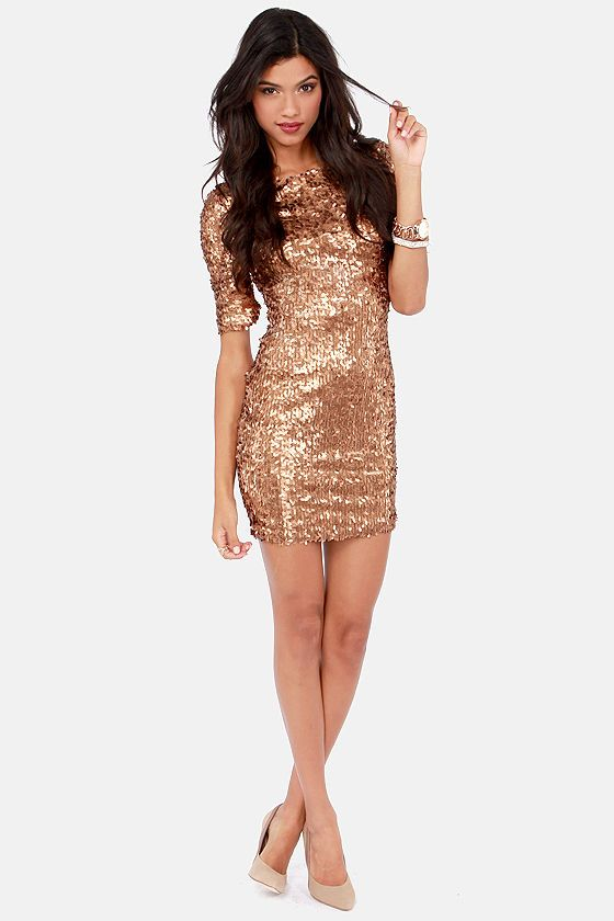 Global Dj Gold Sequin Dress - RP Dress