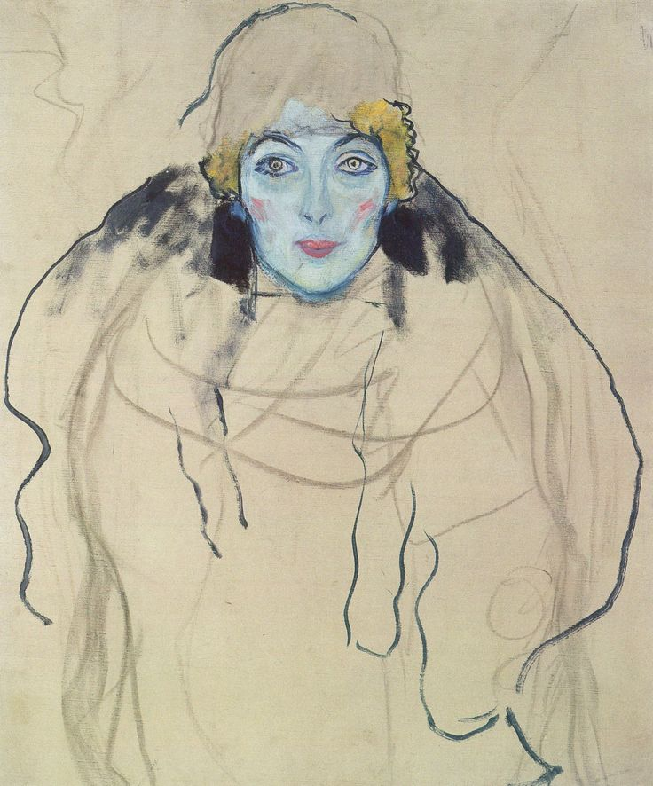 Gustav KlimtPortrait of a Lady, en face (unfinished), 1917, oil on canvas, 67 x 65 cm, Lentos Kunstmuseum, Linz. The unfinished portrait belongs to the group of paintings left in Klimt's atelier after his death.