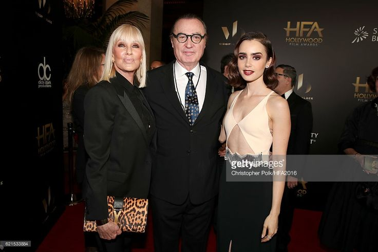 Janice Pennington De Abreu, Hollywood Film Festival founder Carlos de Abreu and actress Lily Collins attend the 20th Annual Hollywood Film Awards on November 6, 2016 in Los Angeles, California.