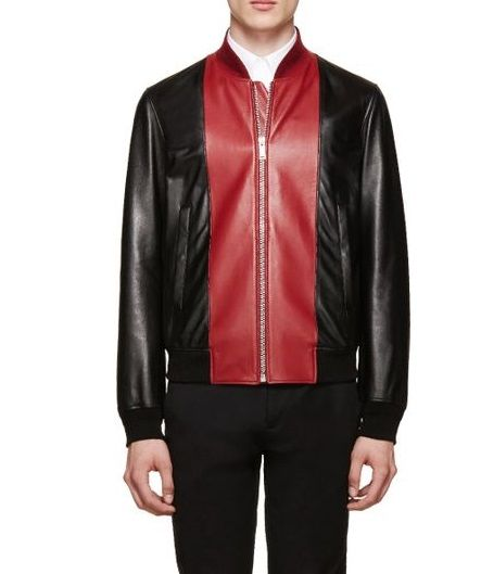 06f37e29196 Simple Black and Red Leather Bomber Jacket for Men in 2019