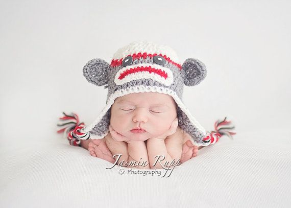 Baby Boy Sock Monkey Hat with Earflaps and Ties  by boykrazie