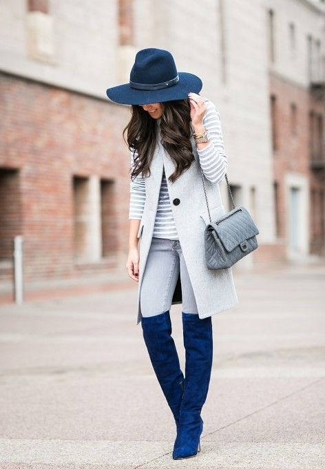 высокие сапоги с пальто