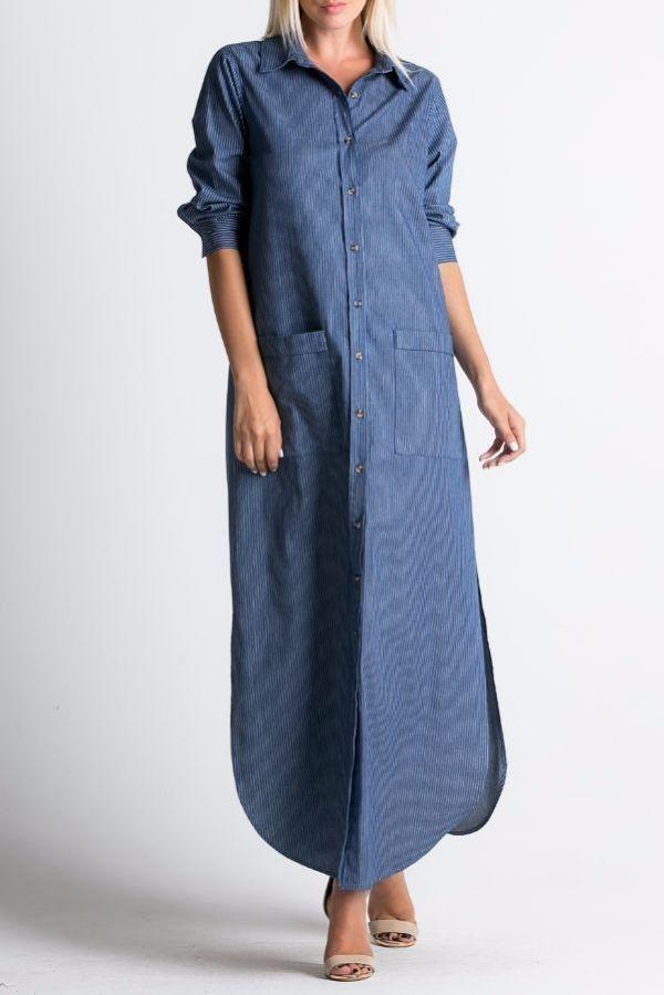 Повседневное платье-рубашка цвет джинса Длинное повседневное платье-рубашка на пуговицах с длинными рукавами, свободный покрой, карманы на передней части, ассиметричный вырез юбки по бокам. https://www.fashionusa.ru/upakovki/povsednevnoe-platie-rubashka-5110