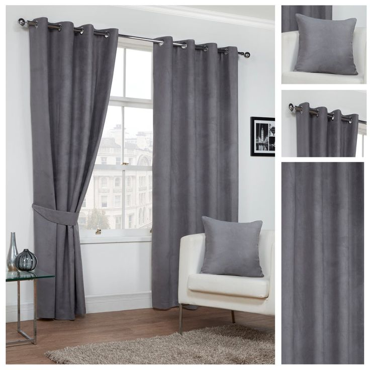 Faux Suede Plain Textured Grey Lined Eyelet/Ringtop Readymade Curtains By Hamilton McBride®