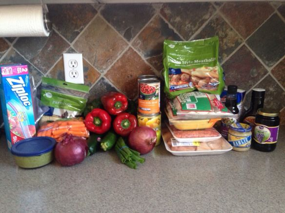 8 freezer meals for $60! Veggies and all! Some crockpot meals too. Chicken pesto ravioli, sweet and tangy meatballs, sausage and peppers, teriyaki chicken. Great meals for delivering to new mom!