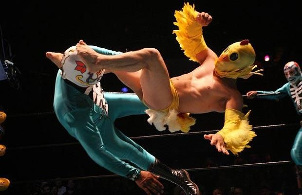 Mexican lucha libre wrestler dressed like a chicken