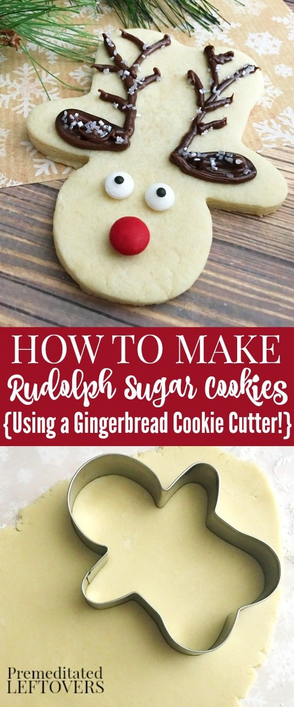 These easy Rudolph Sugar Cookies are made with a gingerbread man cookie cutter! It's an easy holiday cookie recipe to bake and decorate this Christmas. Fun Christmas cookie idea for cookie swaps and to leave on a plate for Santa.