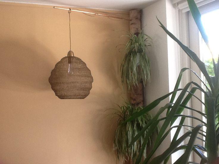 Lamp via koperen buis aan eikenboomstam bevestigd.
