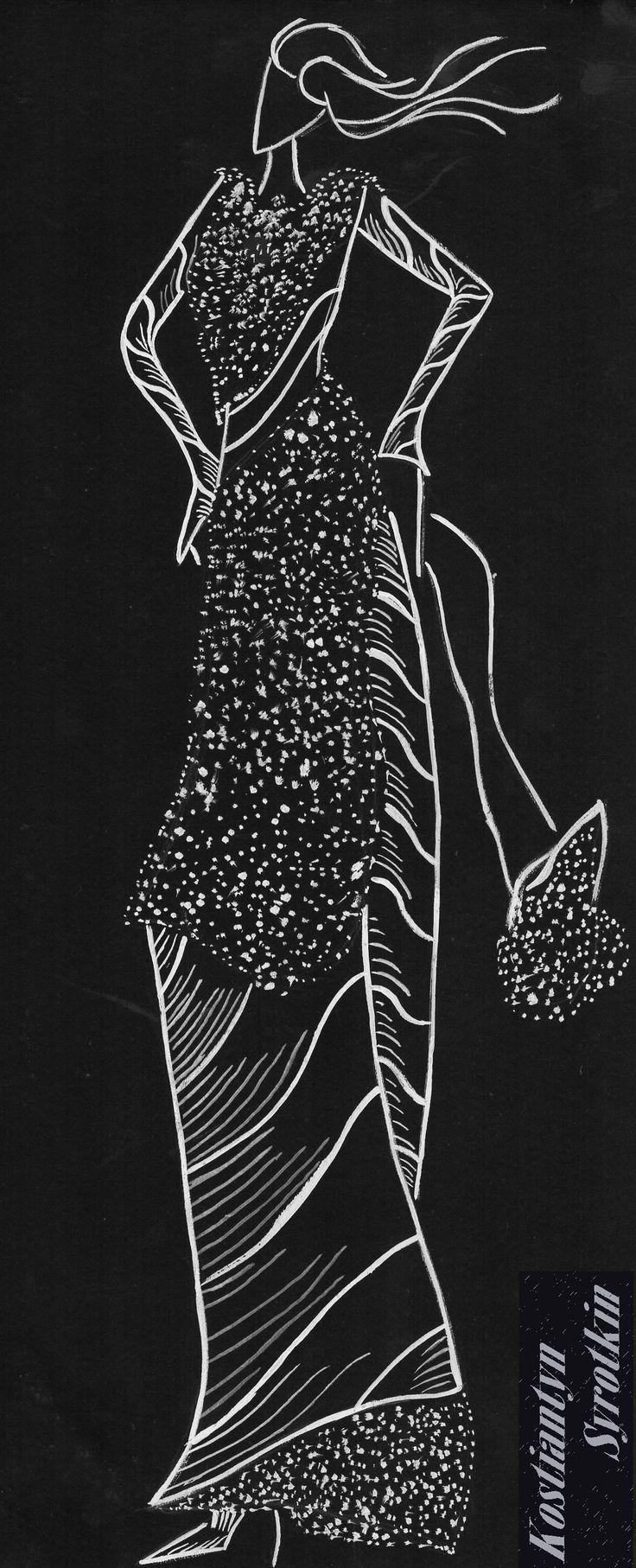 Fashion sketch // Black&White Illustration  Graphic