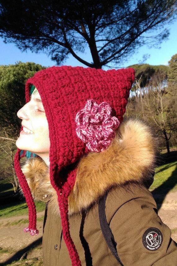 Crochet Winter Hood, Crochet Women Hat, Pixie Hat, Fall Winter Fashion, Elf Hat, Fairy Hood, Burgundy Flower Hat, Boho Hat, OOAK hood