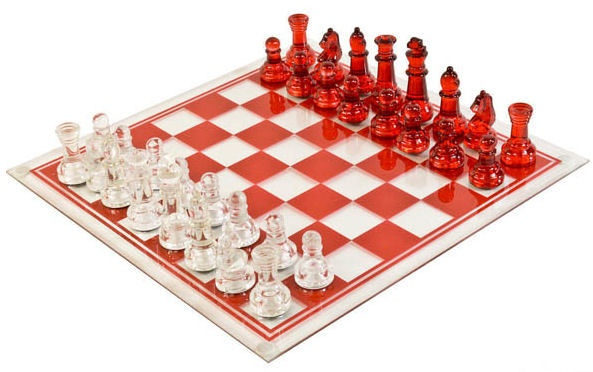 Large Glass Chess Set Clear Amp Red Glass Chess For The