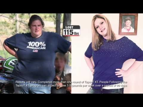 TapouT XT success story featured on Dr. Oz showing Bobbi who lost 115lbs.  In 8 months she went from 308 lbs. to under 200 lbs.   In the first 30 days with TapouT XT, Bobbi lost 30 lbs. and just kept going until she lost 115 lbs.  Does TapouT XT really work?  Bobbi is proof that TapouT XT can change your life.