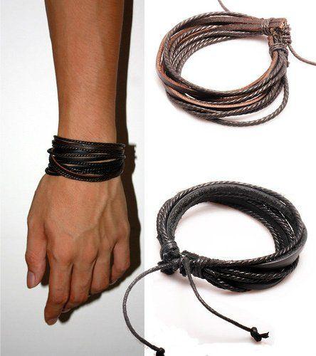 2-Pack Leather Black & Brown Bracelets – Adjustable Wristband – Great For Men, Women, Teens, Boys,…