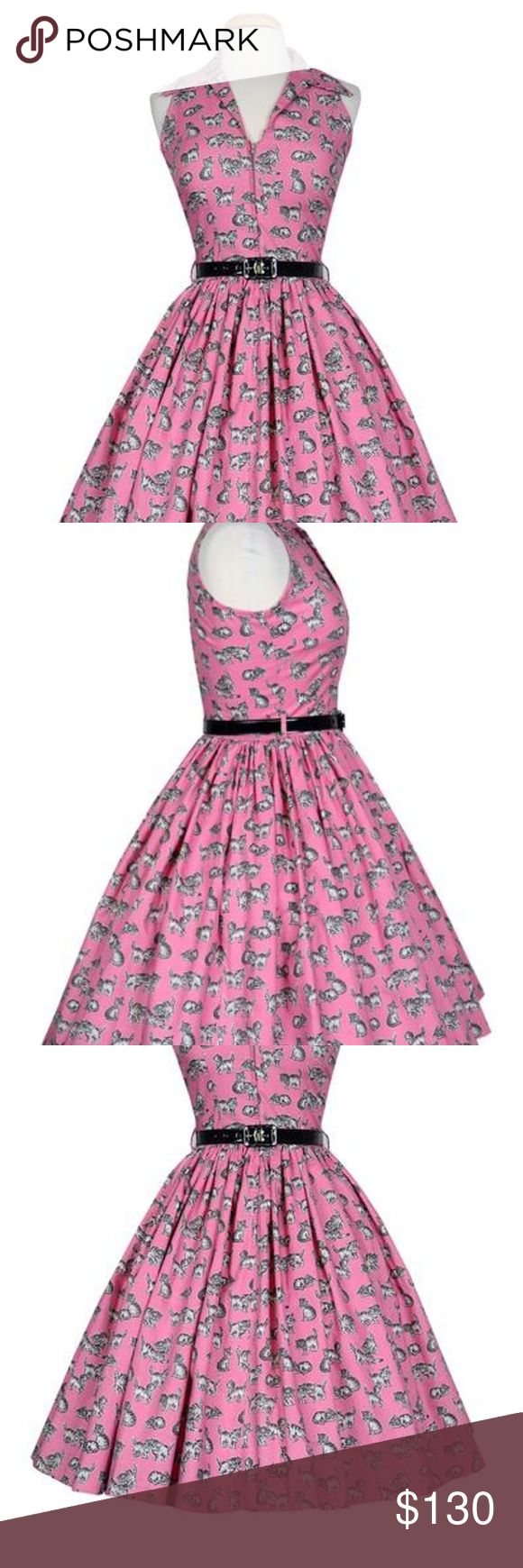 Bernie Dexter Mari Dress in Pink Kitten Print Bernie Dexter pin up Mari Dress in Pink Kitten Print.   Classic 1950s style dress in 100% cotton, collar, hidden pockets and zipper in front. Cute novelty print of mans best friends . I can just see starlets in the 195os wearing this to dip their hands & feet in cement!     100% cotton long zipper in front belt includes hidden lipstick pockets made in the USA DRY CLEAN or Cold Wash hang dry Bernie Dexter Dresses Midi