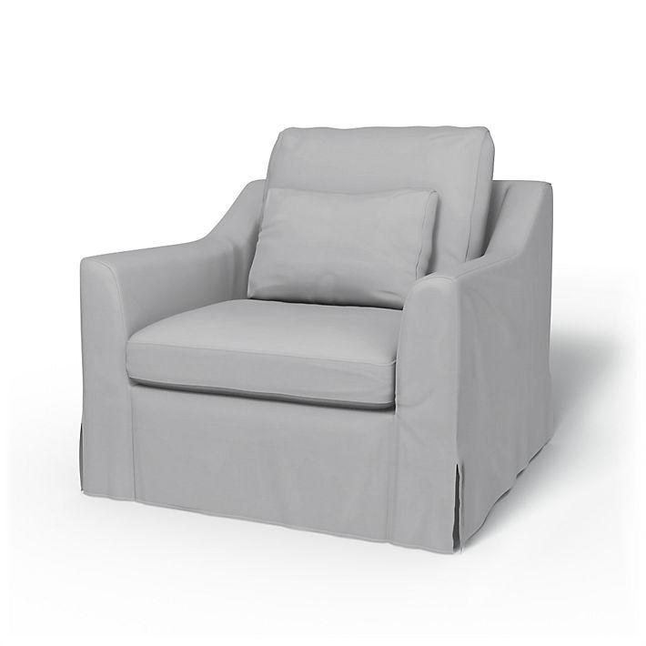 Färlöv, Armchair Covers, Armchair, Regular Fit using the fabric Panama Cotton Silver Grey