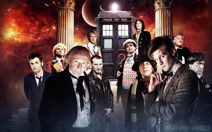 The 11 Doctors from the BBC series Dr. Who (50th anniversary 2013)