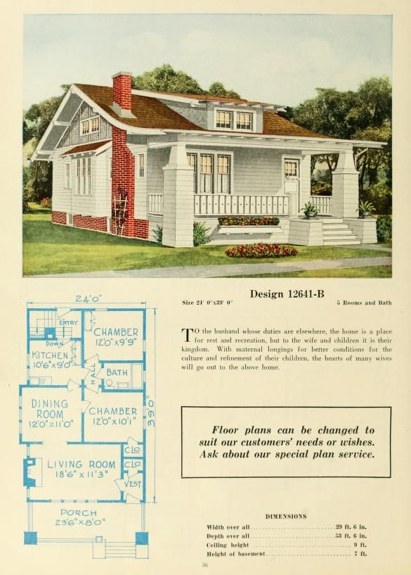 Floor Plan 2 Bdrm Arts Crafts Style Cottage Good For Narrow Lot