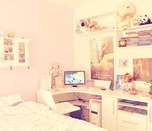 Inspiring picture asian, desk, panda, bed, kawaii, room, girly, perfect, stuffed animals, teddy bears, pink, bedroom, cute, korean, white furniture, photos, style, beed. Resolution: 500x329. Find the picture to your taste!