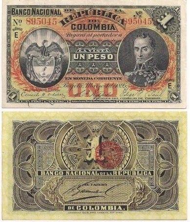 BILLETE DE 1 PESO BOGOTÁ 1895 BANCO NACIONAL DE LA REPÚBLICA DE COLOMBIA