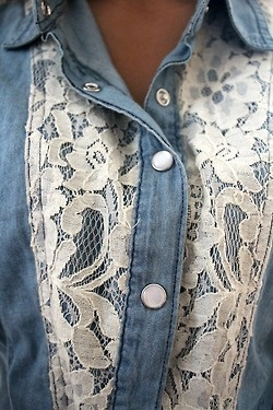 Lace - I love this!!!! Pretty up an existing jacket or shirt