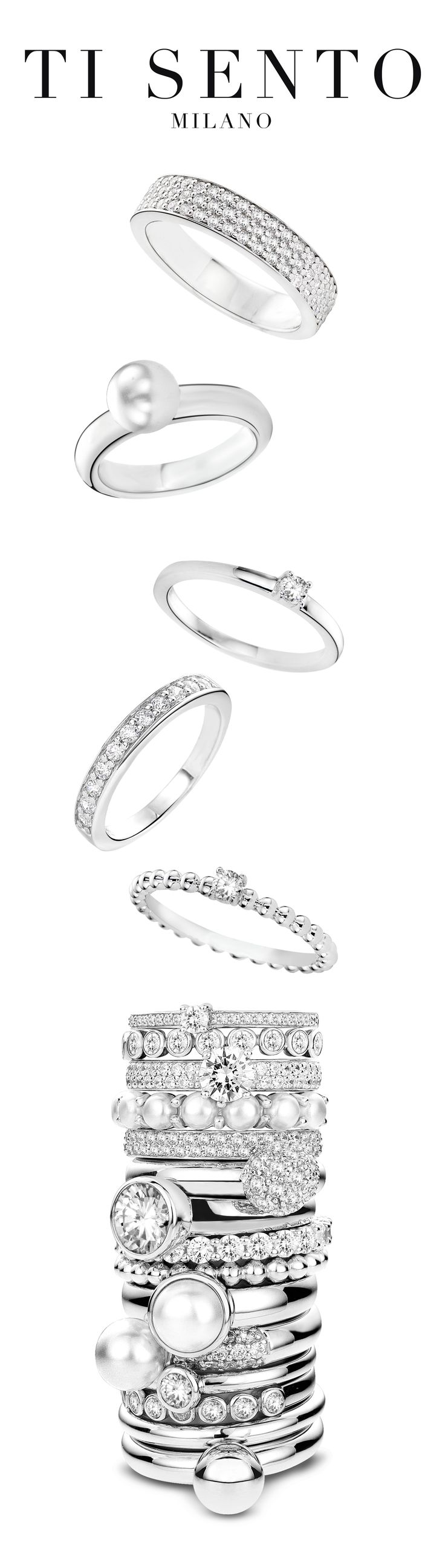 Stack your way to the top! Ti Sento Milano has the ring just for you! Come find it at Diamontrigue!