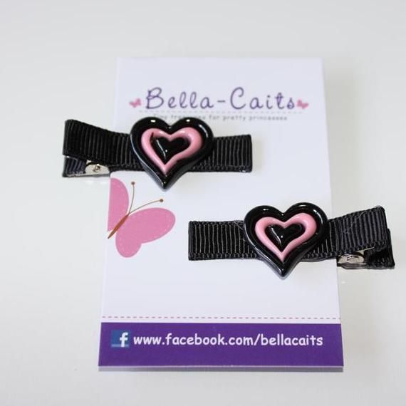 $4.00 Set of 2 Love Heart Hair Clips by Bella-Caits on Handmade Australia