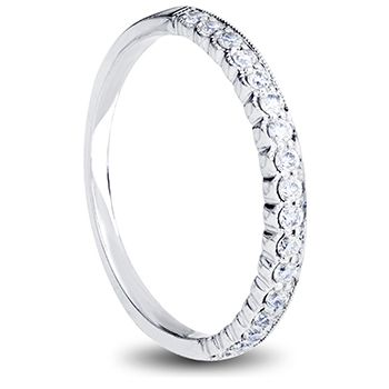 18ct white gold ladies wedding band with pave set diamonds and scalloped edge