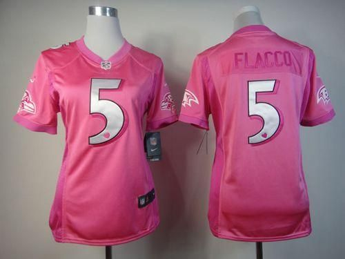 ... nike ravens 5 joe flacco pink womens be luvd embroidered nfl elite  jersey 03eb20ede