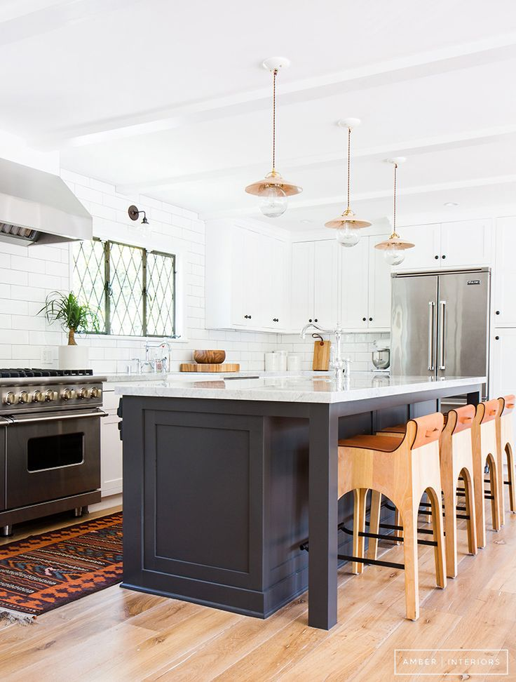 Inspiration for Kitchens with Black Hardware - White Gray and Copper Kitchen Design - Amber Interiors - Photo by Tessa Neustadt