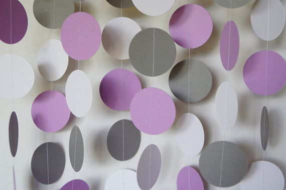Purple, Gray and White Paper Garland, Dark Lavender Wedding Decor, Birthday Party, Purple Baby Shower Decorations, 10 feet long