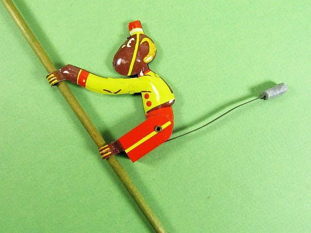 icollect247.com Online Vintage Antiques and Collectables - Gravity Monkey on a Stick Toy Wood & Lithographed Tin 1930s