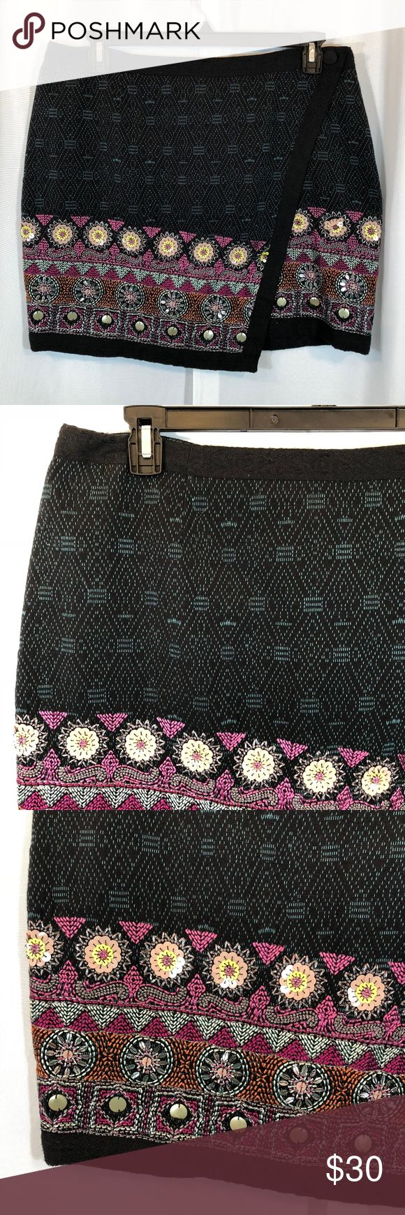 """Monsoon Faux Wrap Black Mini Sequin Skirt, 12 NWOT Brand: Monsoon Size: 12 Material: 83% Cotton, 17% Polyester (Lining - 100% Cotton) Condition: Brand new without tags  Approx. Measurements  Waist: 36""""  Length: 18"""" Monsoon Skirts Mini"""