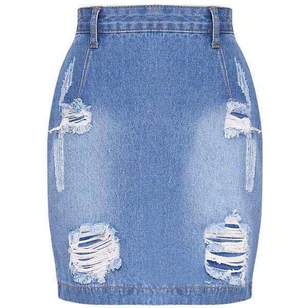Roschian Super Distress Light Wash High Waisted Denim Mini Skirt (£29) ❤ liked on Polyvore featuring skirts, mini skirts, blue mini skirt, high waisted denim skirt, high waisted short skirts, blue skirt and mini skirt