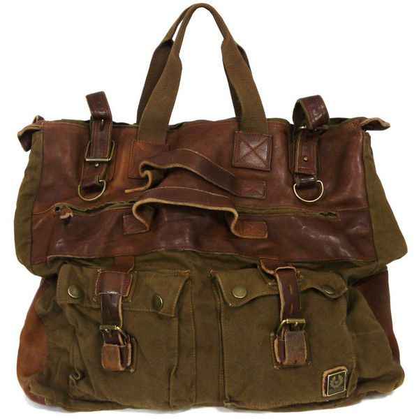 Belstaff Mountain Brown Canvas Travel Bag (£355) ❤ liked on Polyvore