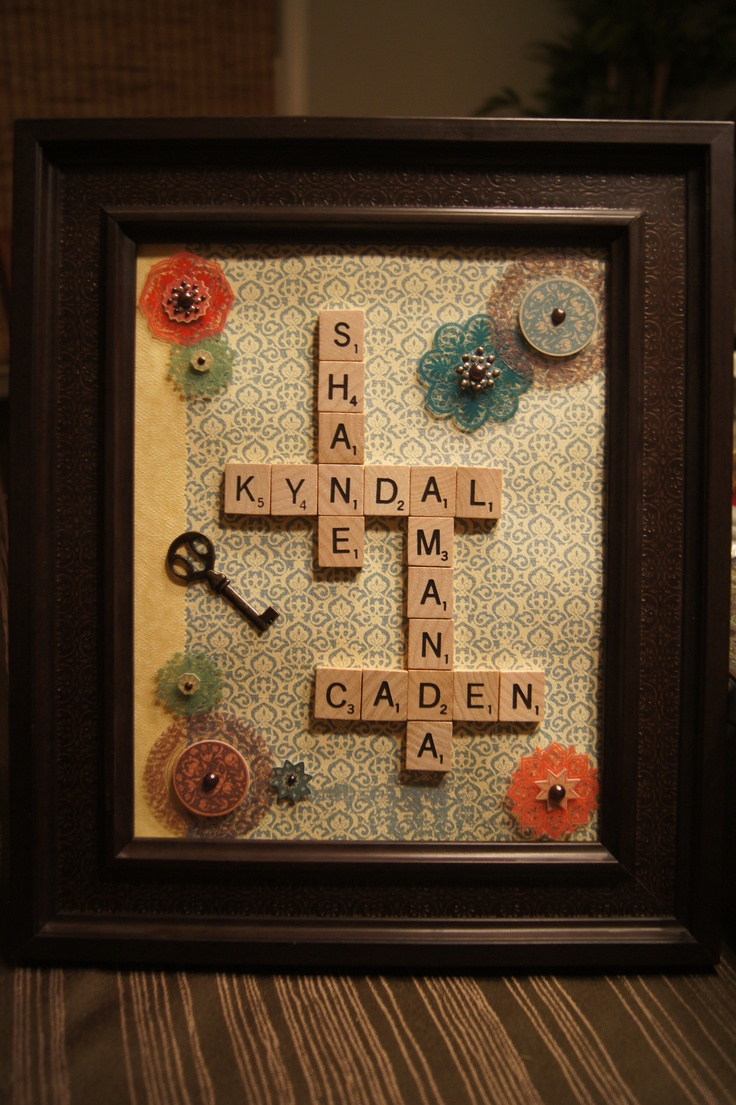 Scrapbook ideas names - Decorated The Background With Scrapbook Paper And 3d Stickers And Used Scrabble Pieces For Our