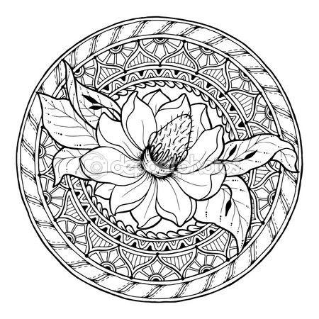 Letöltés - A virágmotívumok. Kör nyári doodle virág dísz. Kézzel rajzolt magnolia art mandala. Fekete-fehér etnikai háttér. Zentangle minta a kifestőkönyv a felnőttek és a gyerekek — Stock Illusztráció #114275108