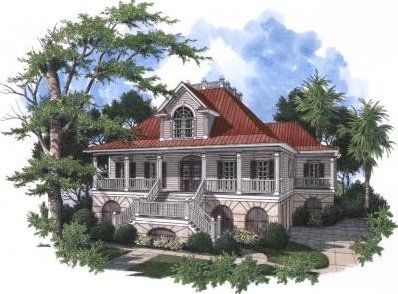 Southern house plan design built for the waterfront area of Charleston, SC