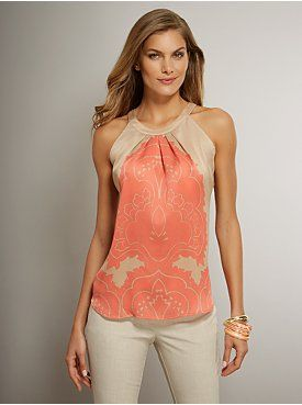 Sheer Paisley Print Halter Blouse From New York Company Stitch