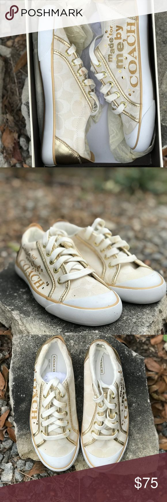 COACH tennis shoes BRAND NEW COACH tennis shoes.                Laces are slightly discolored due to brass on shoe lace holes                                            Brand new, never worn.                                   Size 6 1/2 Coach Shoes Sneakers