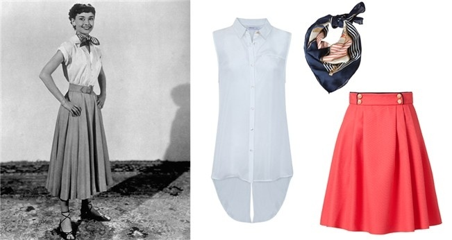 Camisa de blanco, falda primark, pañuelo stradivarius